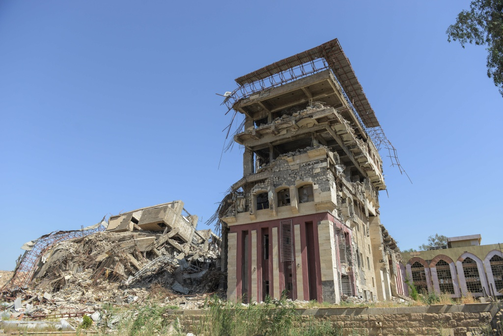 A picture taken on June 13, 2017 shows a damaged building of the University of Mosul.