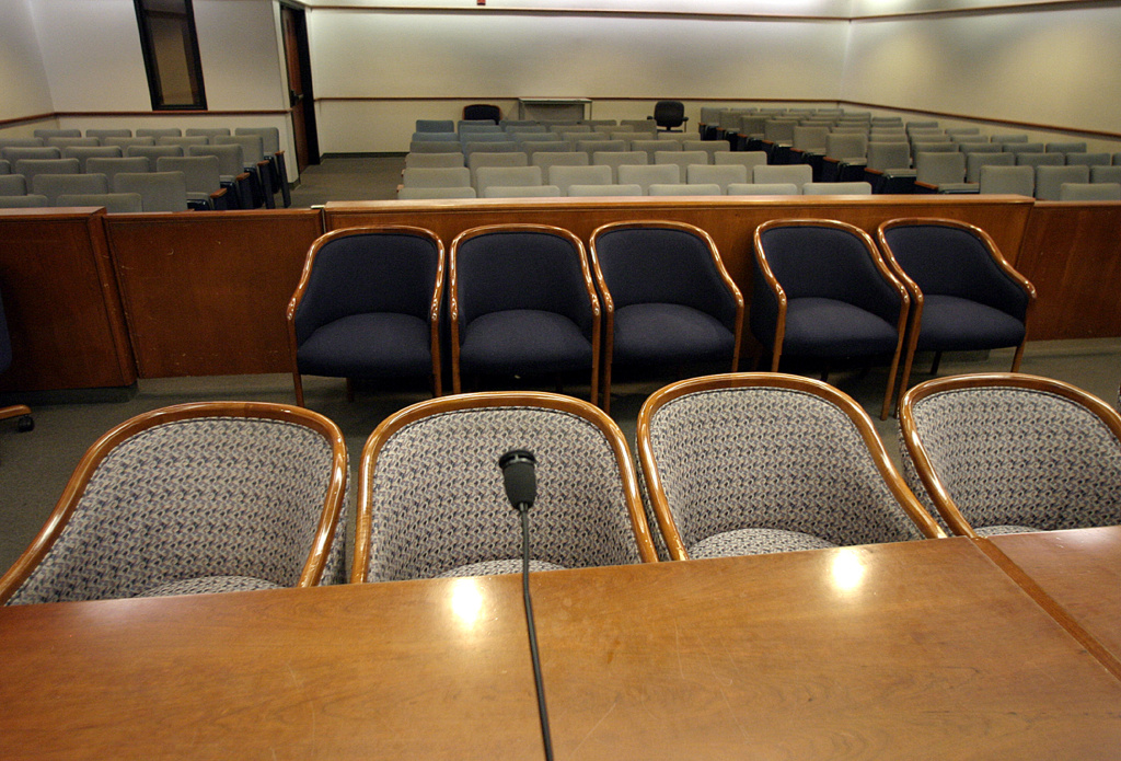 An empty Superior Court of California courthouse is seen on January 30, 2005 in Santa Maria, California.