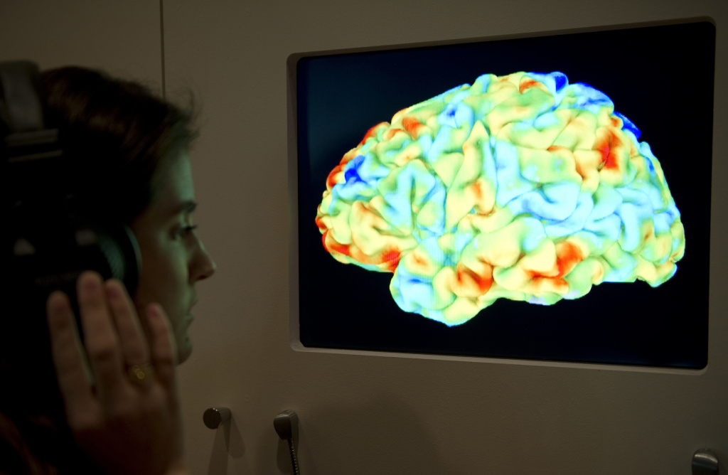 A woman looks at a functional magnetic resonance image (fMRI) showing the effect of Stravinsky's Rite of Spring and Kant's 3rd Critique on the human brain.