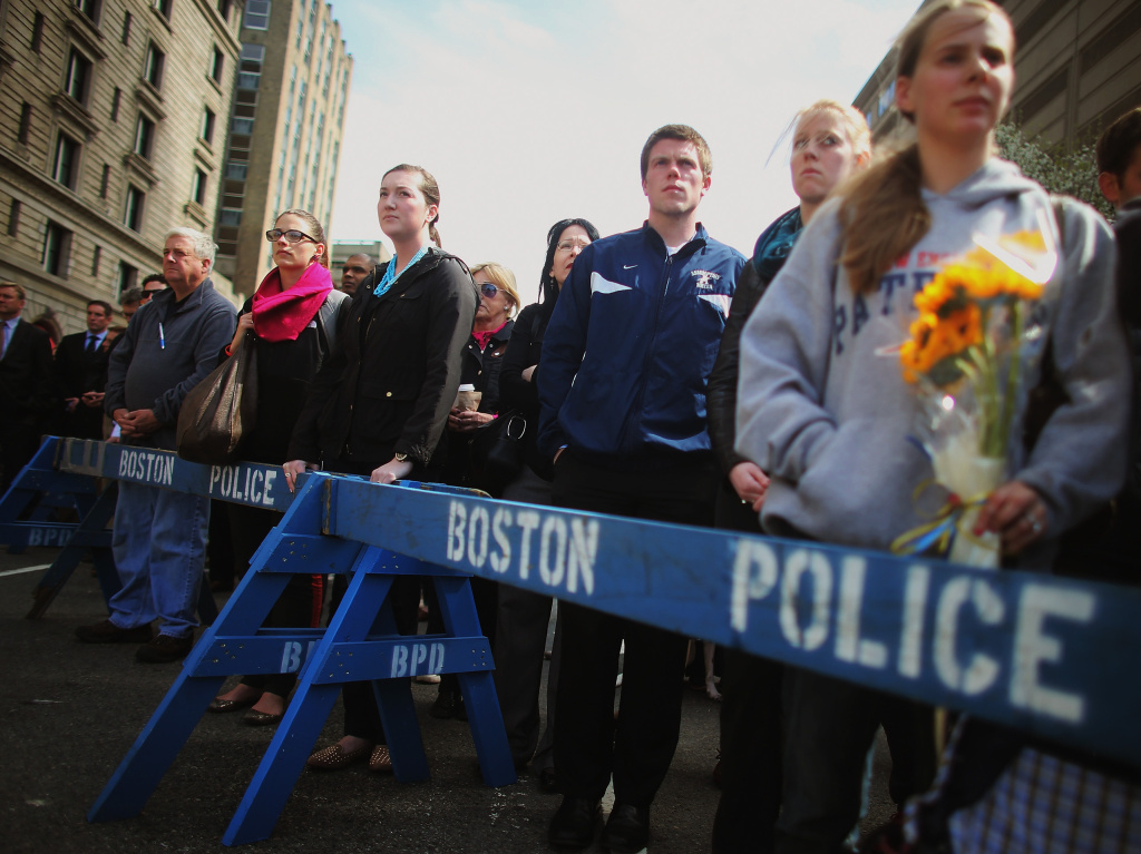 In Boston on Monday, and in other places across the nation, people gathered for a moment of silence to honor the victims of the marathon bombing.