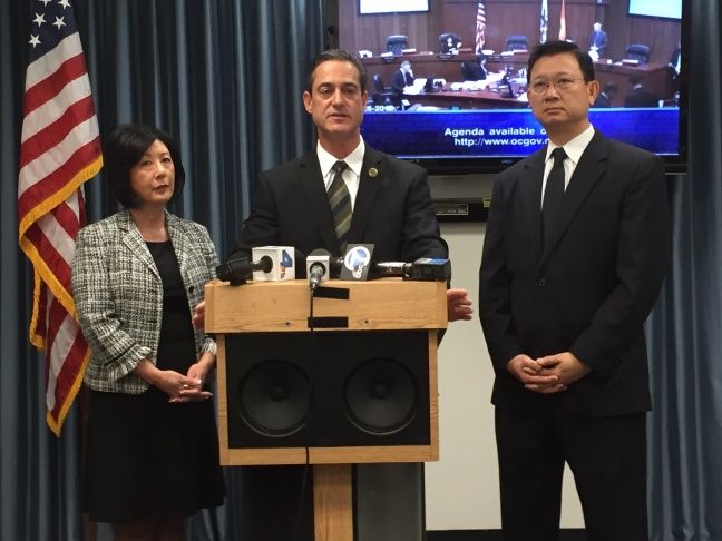 Orange County Sheriff's Department spokesperson Lt. Jeff Hallock delivers a brief statement to the media on Tuesday regarding the three inmates who escaped from the Central Men's Jail in Santa Ana on January 22.