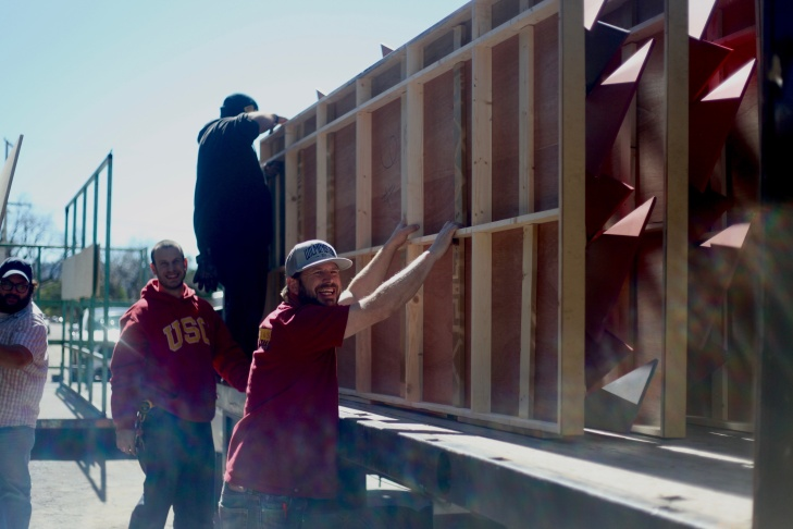Some of the Goodnight & Co. crew pack up the last of the Oscars' sets.