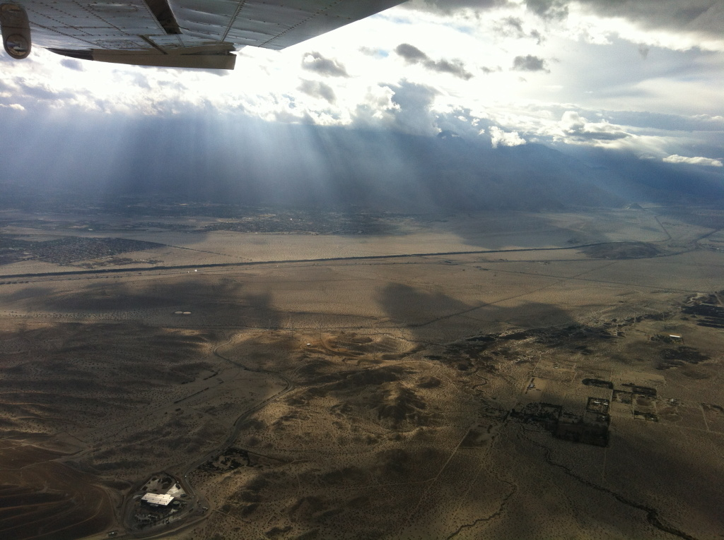 Reporter Caitlin Esch flies over the Mojave Desert.
