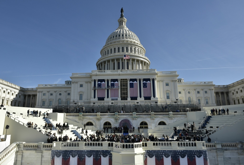 TOPSHOT - A general view shows the West side of the US Capitol during a rehearsal for the inauguration of US President-elect Donald Trump on January 15, 2017 in Washington, DC. / AFP / MANDEL NGAN        (Photo credit should read MANDEL NGAN/AFP/Getty Images)