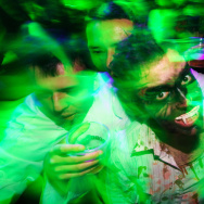 People dressed up as zombies during a Ha