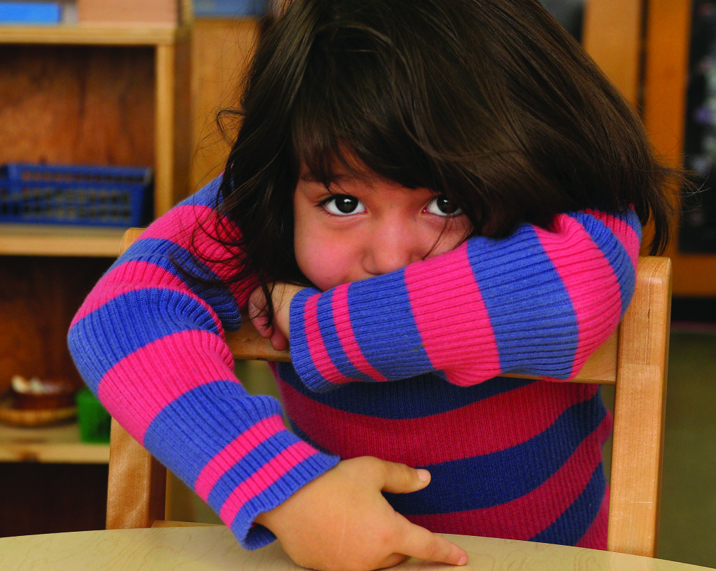 A child attending a bilingual class at a Montessori school in Washington DC.