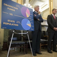 Senator Lindsey Graham (2nd R), R-SC, stands with Senator Bill Cassidy (L), R-LA, Senator Dean Heller (2nd L), R-NV, and Senator Ron Johnson (R), R-WI, to announce their legislation to repeal and replace Obamacare through block grants on Capitol Hill in Washington, DC, on September 13, 2017.