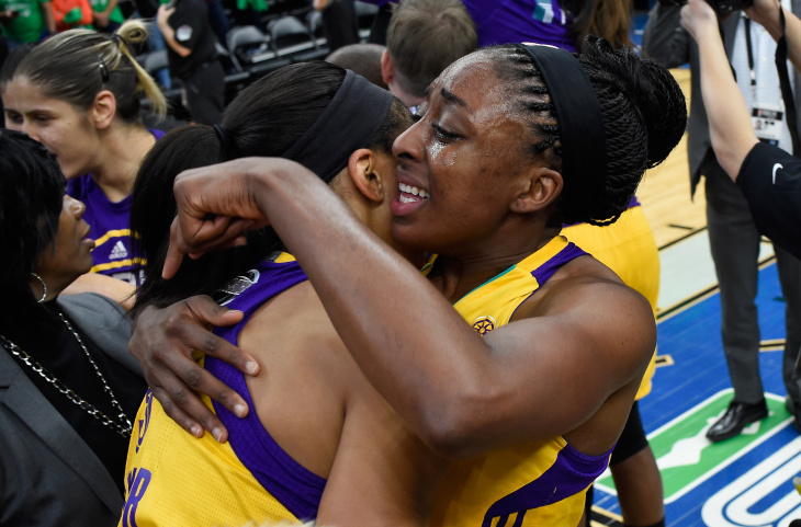 MINNEAPOLIS, MN - OCTOBER 11: Candace Parker #3 and Nneka Ogwumike #30 of the Los Angeles Sparks hug after a win in Game Five of the 2016 WNBA Finals against the Minnesota Lynx on October 11, 2016 at Target Center in Minneapolis, Minnesota. The Sparks defeated the Lynx 77-76 to win the WNBA Championship. NOTE TO USER: User expressly acknowledges and agrees that, by downloading and or using this Photograph, user is consenting to the terms and conditions of the Getty Images License Agreement. (Photo by Hannah Foslien/Getty Images)