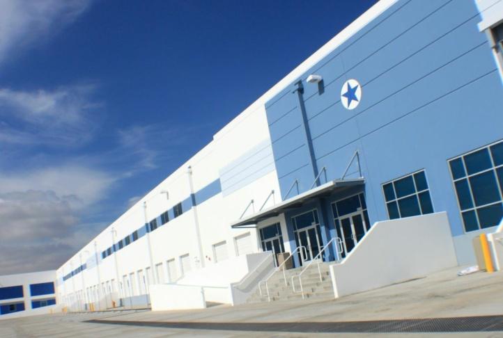 Exterior of new Amazon distribution center in San Bernardino.
