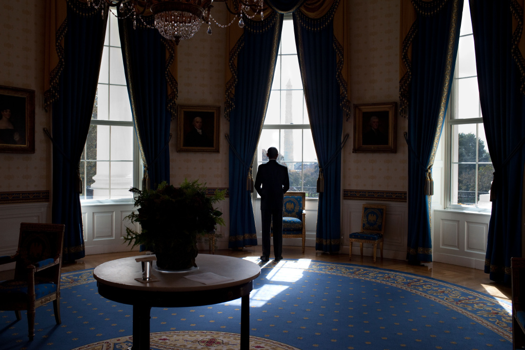 President Barack Obama looks out the window in the Blue Room of the White House before holding a press conference,  Nov. 3, 2010.