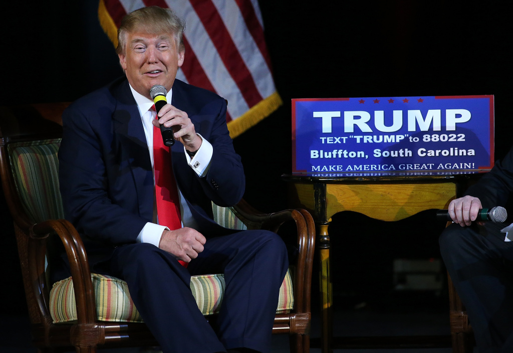 Republican presidential candidate Donald Trump speaks to voters on February 17, 2016 in Bluffton, South Carolina. T