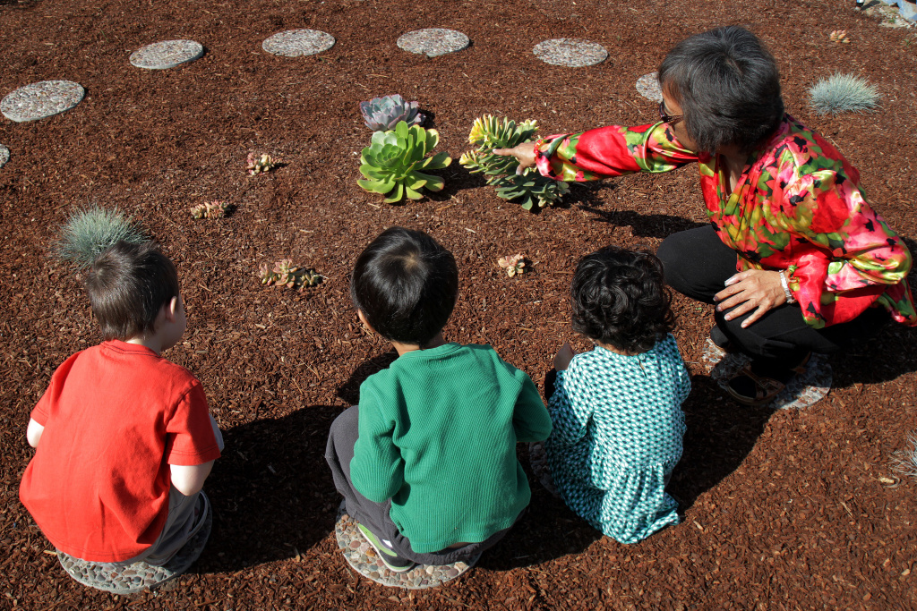 Students Aryana Deshpende, 3, Seth Lee, 4, and Jameson Ruetz, 4, learn about each native plant in their drought resistant garden at Smart Start Preschool in Redondo Beach, Calif.
