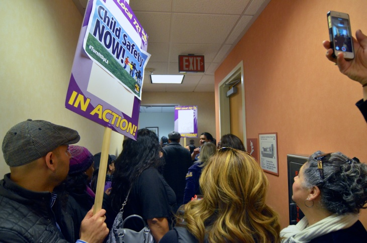 Social workers strike outside Supervisor Gloria Molina's office on Monday Dec. 9, social workers rallied outside five supervisor offices to demand the county hire more social workers and lessen case loads.