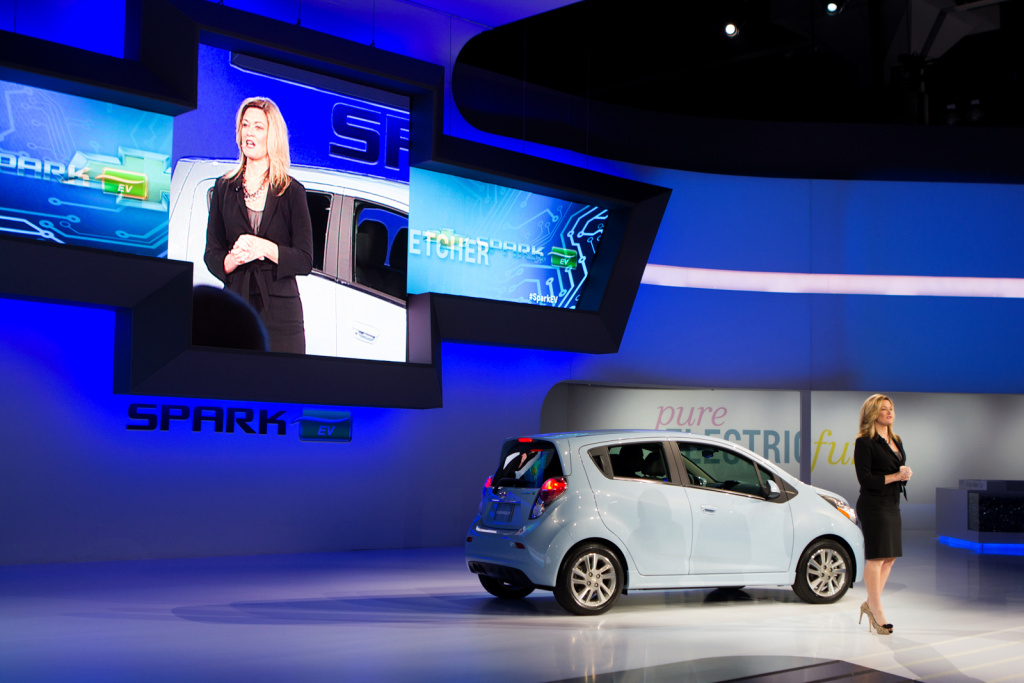 The 2014 Chevrolet Spark EV is introduced at the LA Auto Show. It's the smallest vehicle in the entire GM lineup. It's all-electric. And its shows that GM is at long last taking small cars seriously.