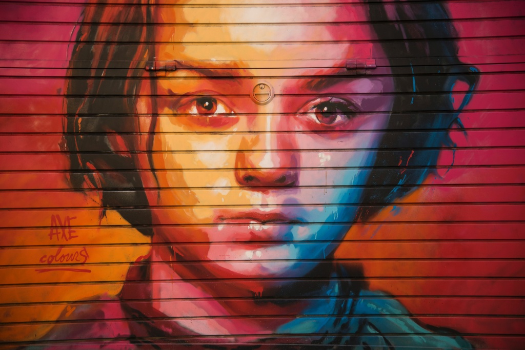 Street art by Axe Colours depicts British actress Maisie Williams known for playing Arya Stark on