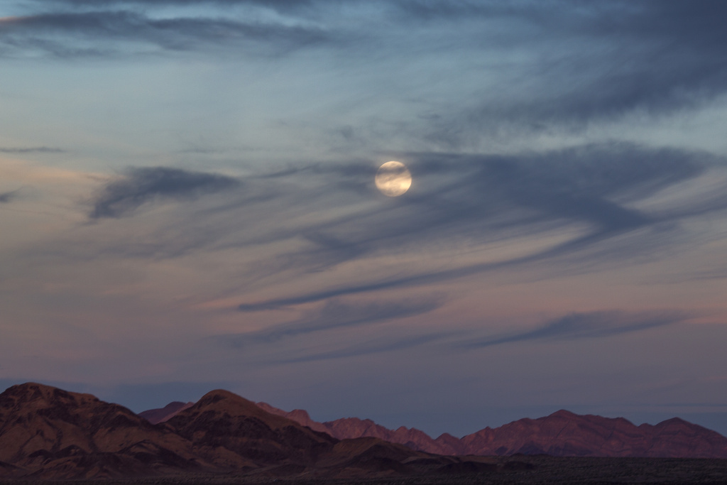 The moon rises over the Mojave Desert on January 30, 2018 near Amboy, California.