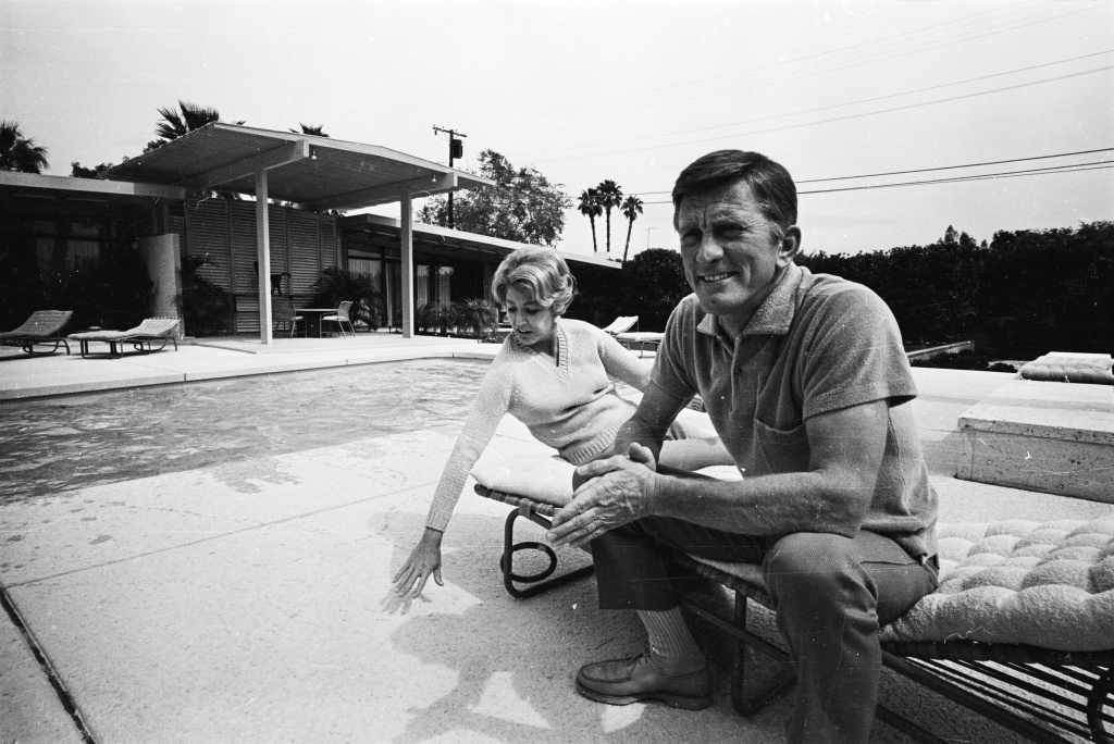 American actor Kirk Douglas and his wife Ann at their home.