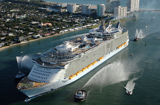 The Oasis of the Seas is five times the size of the Titanic and has room for 6,300 passengers.