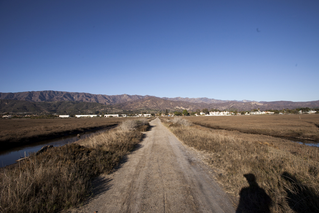 A business park development prevents the Carpinteria salt marsh from moving towards the hills as rising sea levels threaten its survival.