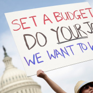 A furloughed federal worker protests outside the U.S. Capitol last week, demanding an end to the shutdown.
