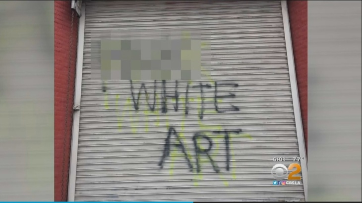 Screenshot of CBS Los Angeles video that shows tagging at the Nicodim Gallery in Boyle Heights.