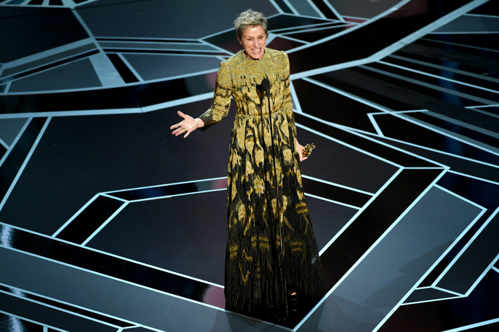 Frances McDormand won best actress for her role in Three Billboards Outside Ebbing, Missouri.
