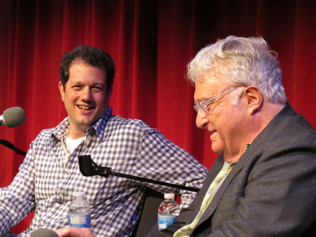 From left to right, Larry Mantle, Michael Giacchino, Randy Newman, David Newman and Trevor Rabin onstage in the Crawford Family Forum.