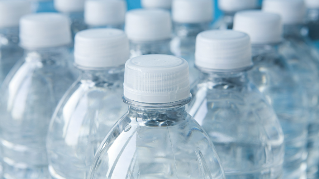 Bottles of mineral water.