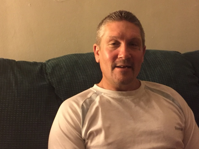 Michael Bullers at his new home in El Monte, Calif. Prior to moving in, Bullers had been homeless since being kicked out the Navy for drug use in 1993.