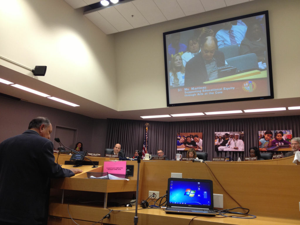 Actor Cheech Marin of Cheech & Chong fame addresses the L.A. Unified school board about the importance of arts education and why it should be a 'core subject.' The board agreed unanimously. (Oct. 9, 2012)