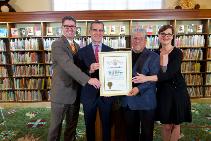 From left to right: City Librarian John F. Szabo; Mayor Garcetti; LA Poet Laureate Luis Rodriguez; and Cultural Affairs General Manager Danielle Brazell