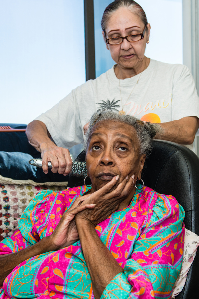Maggie Belton suffers from arthritis and diabetes. The 82-year-old gets in-home care from Armida Pineda, 64, at her Pasadena apartment.
