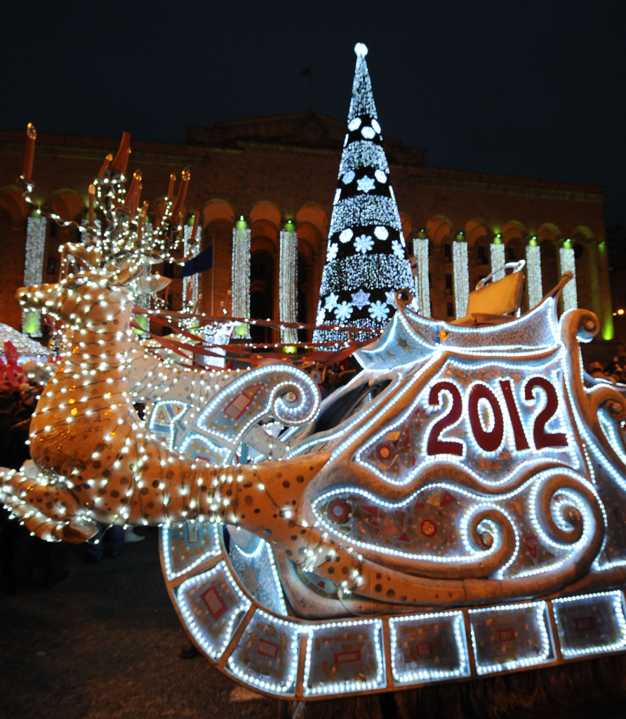A picture taken late on December 25, 2011, shows New Year's street decorations.