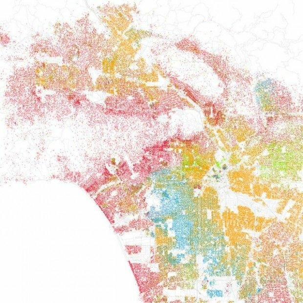 A color-coded ethnicity map of the Los Angeles area, based on census data