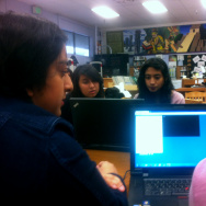 Bell High School students at an after school programming club.