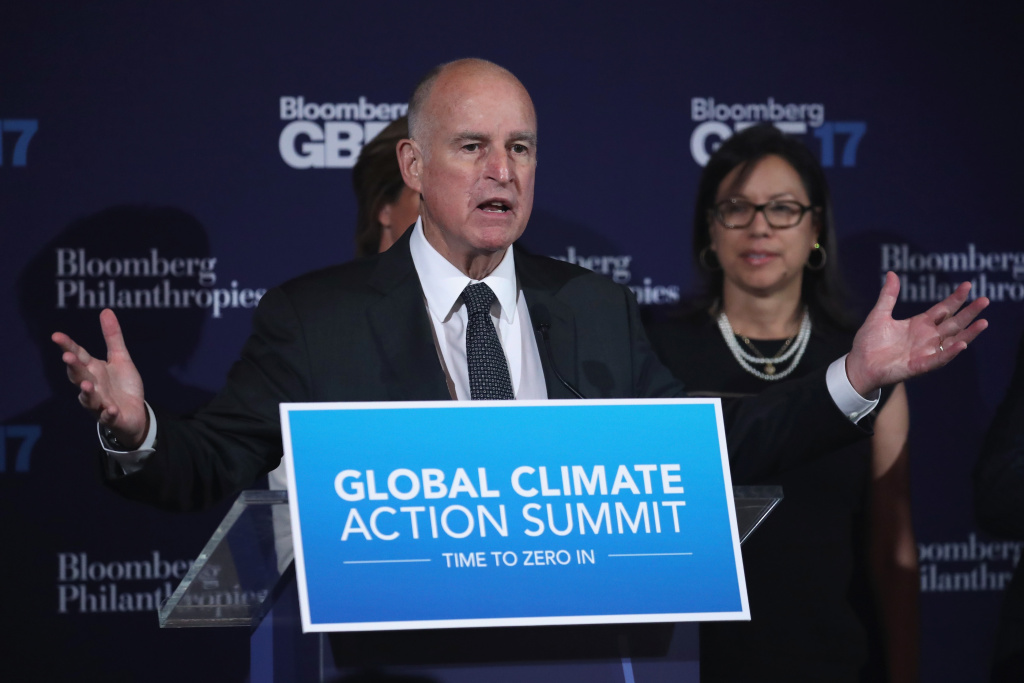 California Gov. Jerry Brown speaks about an upcoming climate summit while at the Bloomberg Global Business Forum on September 20, 2017 in New York City.