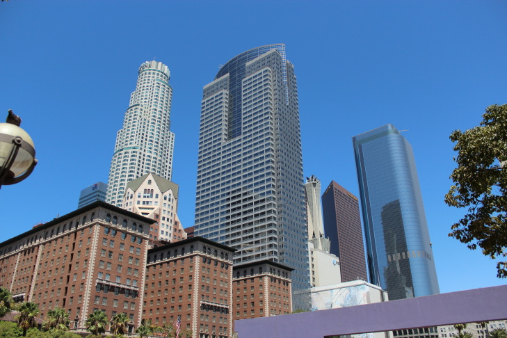 The view of Downtown Los Angeles from Pershing Square.