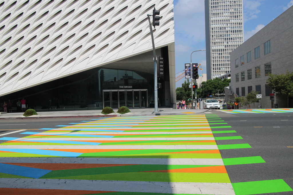 The four cross crosswalks in front of The Broad museum are home to an exhibit by Venezuelan artists Carlos Cruz-Diez.