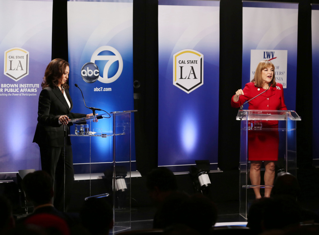 State Attorney General Kamala Harris and Orange County Congresswoman Loretta Sanchez appear in the televised U.S. Senate debate at Cal State LA on Oct. 5, 2016.