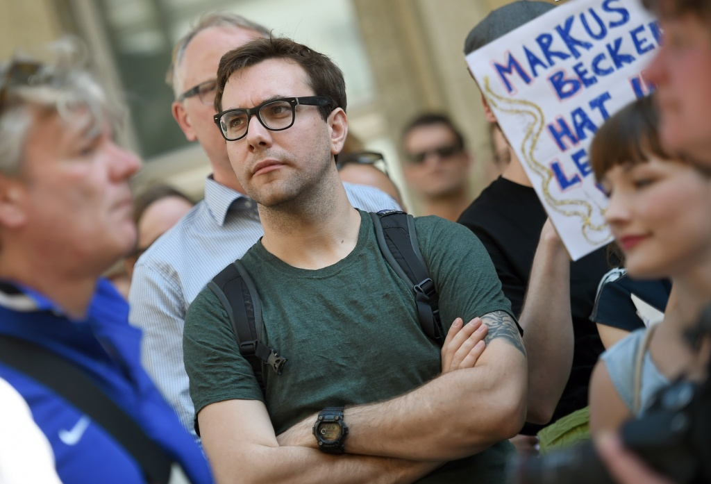 US journalist and internet activist Jacob Appelbaum attends a demonstration in support of freedom of press on August 1, 2015, in Berlin.