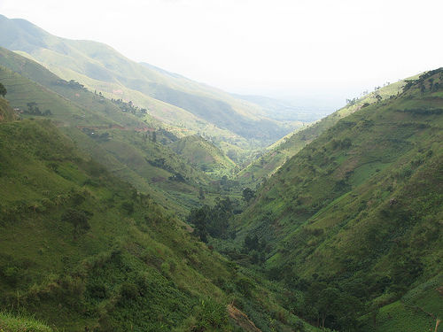 Looking down the valley towards the Semiliki River. The Western Rift Valley is in the distance.