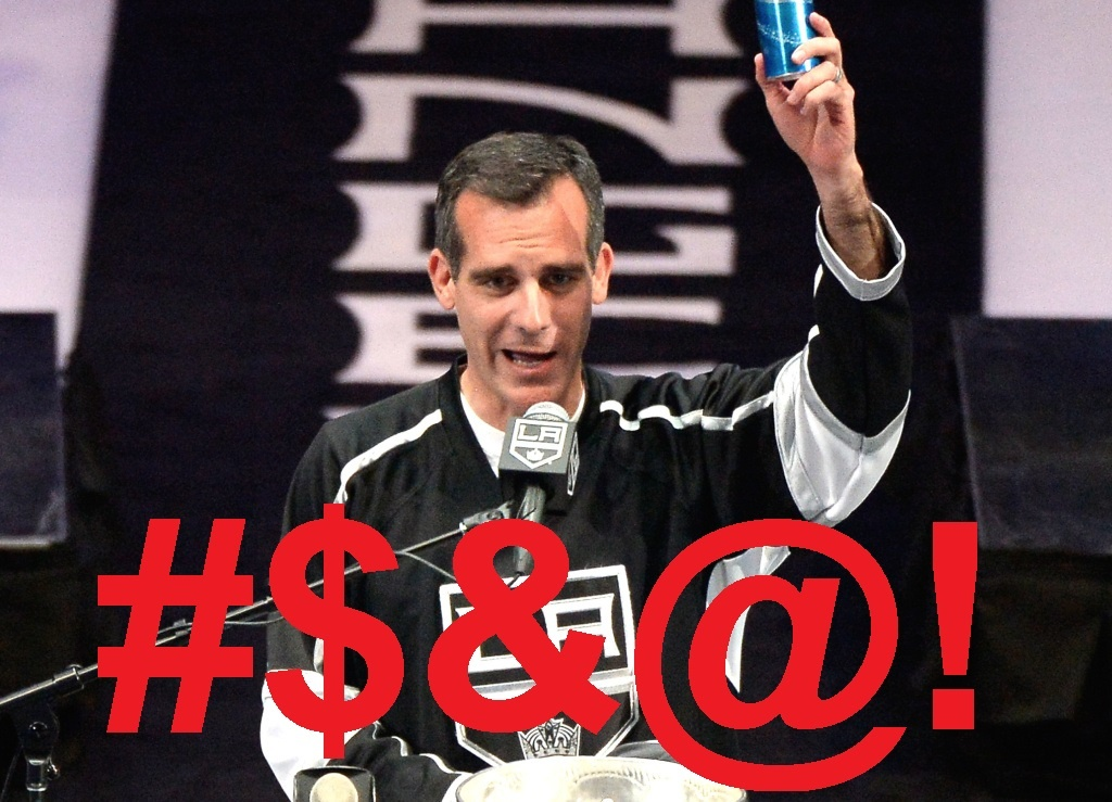 Raising a beer to toast the team, LA Mayor Eric Garcetti used the F-bomb at the LA Kings victory rally