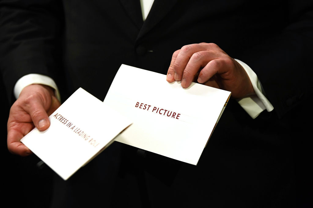 In this handout photo provided by A.M.P.A.S. Award envelopes are held backstage during the 92nd Annual Academy Awards at the Dolby Theatre on February 09, 2020 in Hollywood, California.