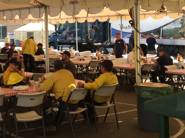 Supplies from countless vendors and contractors on Tuesday were unloaded to provide essential services and supplies for the Sand Fire incident command center behind Golden Valley High School outside Santa Clarita.
