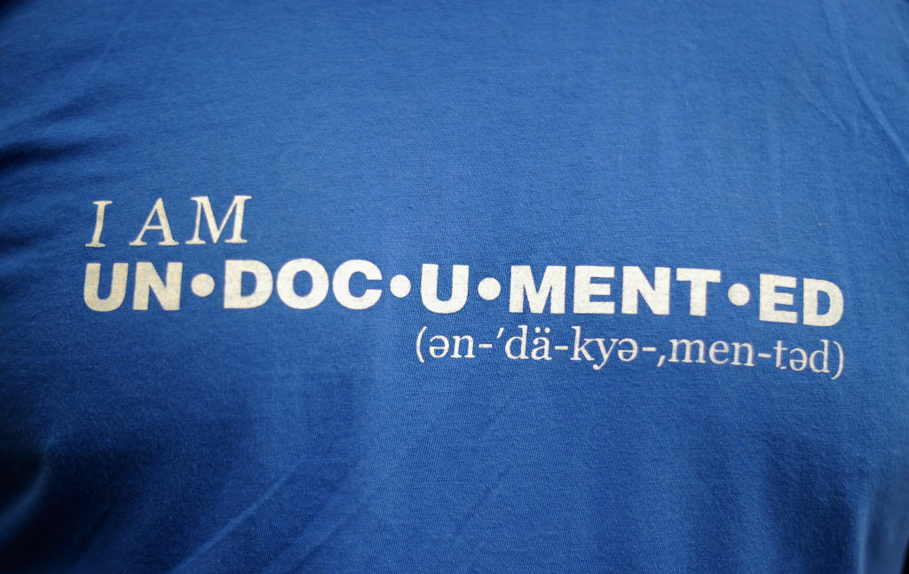 A t-shirt worn during a demonstration in Los Angeles by immigrant students for an end to deportations, June 15, 2012