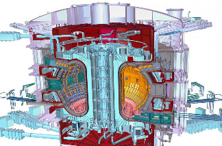 A cutaway view of the planned ITER Tokamak, the reactor that would theoretically produce energy through fusion.