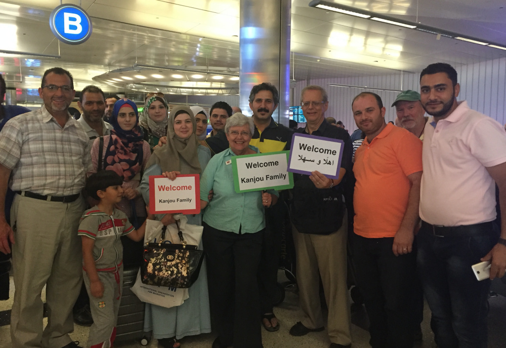 FILE: Members of the Islamic Center of Claremont and the First Presbyterian Church of Pomona, along with relatives who arrived as refugees in 2015, meet the newly-arrived Kanjou family at the airport when the Syrian refugees arrived in Southern California last year.