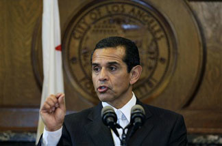Los Angeles Mayor Antonio Villaraigosa announces the elimination of two small City Departments on Friday, Feb. 19, 2010, in Los Angeles.