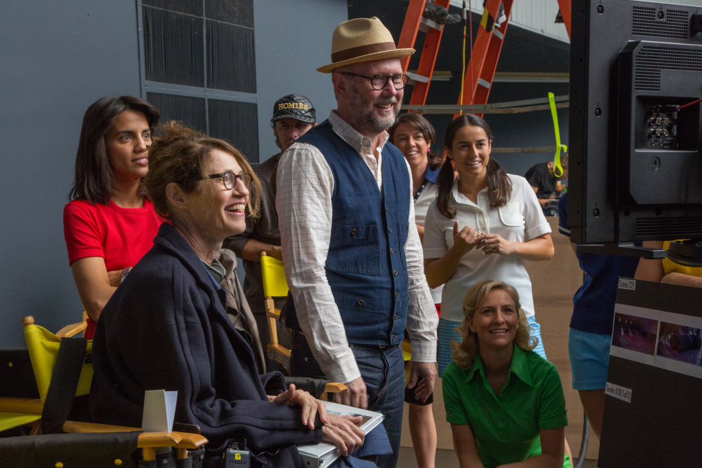 Natalie Morales, Directors Jonathan Dayton and Valerie Faris, Kaitlyn Christian, Fidan Manashirova and Mickey Summer on the set of