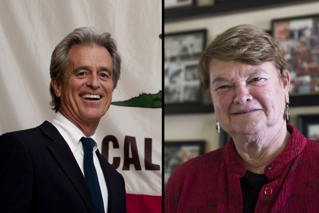 Sheila Kuehl and Bobby Shriver after a debate in Studio City sponsored by the Valley Alliance of Neighborhood Councils.